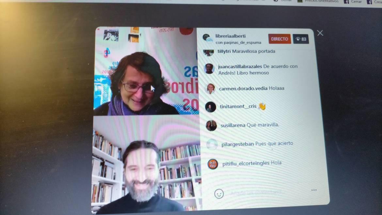 """Presentación de""""una casa lejos de casa"""", de Clara Obligado, en Librería Alberti, Madrid, con Andrés Neuman (17/11/2020)"""
