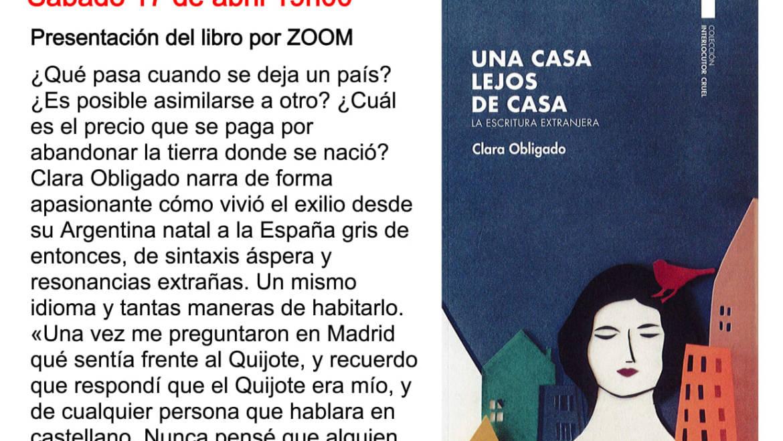 Clara Obligado presenta  «Una casa lejos de casa» en Ginebra, en la Librería Albatros y vía zoom.